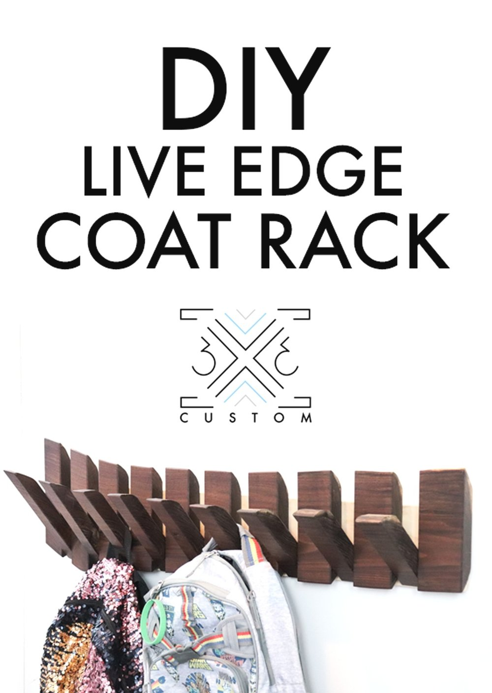 3x3 Custom Live Edge Coat Rack