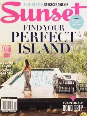 Sunset Magazine March Cover 2017. The Palmwood, Kauai, Hawaii