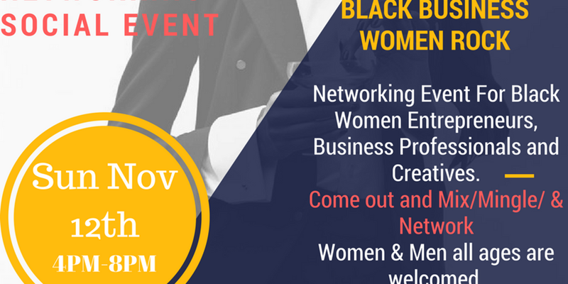 This event is for established and aspiring women in business, executives, entrepreneurs, creatives & anyone seeking growth and access to resources and business opportunities/networking.  Networking Event November 12th 4pm-8pm For Black Women Entrepreneurs, Business Professionals and Creatives.  Come out and support your local black owned women in business.  Enjoy the Vendors, Music, Food, Drinks, Shopping, Networking.  We will bring together women and men of all ages, who have a passion for business, entrepreneurship, growth and empowerment.Experience powerful speakers, and panel discussions, while igniting new relationships with other attendees & hand-selected vendors. You'll also have time to shop, eat, drink and mingle, while listening to great music. Get ready for a truly amazing experience!  Mix & Mingle  This is an event that you dont want to miss!!  Women & Men all ages are welcomed .  ENDORS, SPONSORS & MEDIA OPPORTUNITIES: Email us: pranzoscatering.com  *Attn: All sales are final. Tickets are non-refundable, however, you can transfer or sell your ticket(s) to another person*   RSVP: https://www.eventbrite.com/e/black-women-networking-social-tickets-38662195668?aff=efbneb     Ticket Price: $15