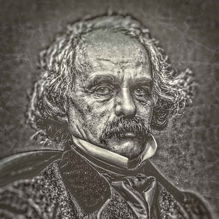 Photographic portrait of Nathaniel Hawthorne, 1860-1864, by Mathew Brady. 1 negative : glass, wet collodion. Creeped up by Donald Stull.