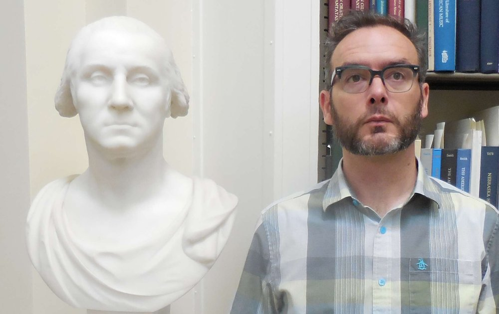 The author, with George Washington, at the American Antiquarian Society, visiting under the auspices of the  Center for Historic American Visual Culture , in 2016. Both Washington and Zuba are contemplating Nathaniel Hawthorne.