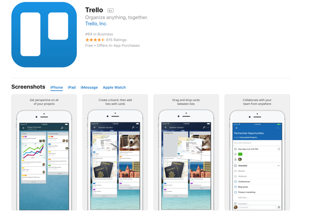 "Description  Trello gives you perspective over all your projects, at work and at home.  Whether it's managing a team, writing an epic screenplay, or just making a grocery list, Trello is your sidekick for getting things done and staying organized.  ""Trello is an awesome project management tool that makes collaboration easy and, dare I say, even fun."" LIFEHACKER"