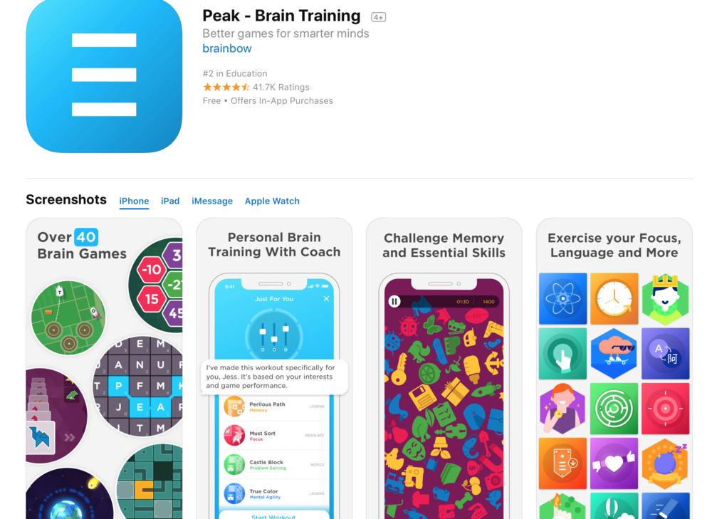 Description  It's time to play smarter and feel sharper with Peak, the app that was chosen as Best App 2014 in over 24 countries around the world. Join millions of brain trainers worldwide and see what the fuss is all about.  Reach Peak performance with over 40 unique games, each one developed by neuroscientists and game experts to challenge your cognitive skills and push you further. Use Coach, the personal trainer for your brain, to find the right workout for you at the right time. Choose from Coach's best recommendations to push your skills to the max. Or take contextual workouts like Coffee Break if you're short on time. Coach will help you track your progress using in-depth insights and keep you going when you need it most.