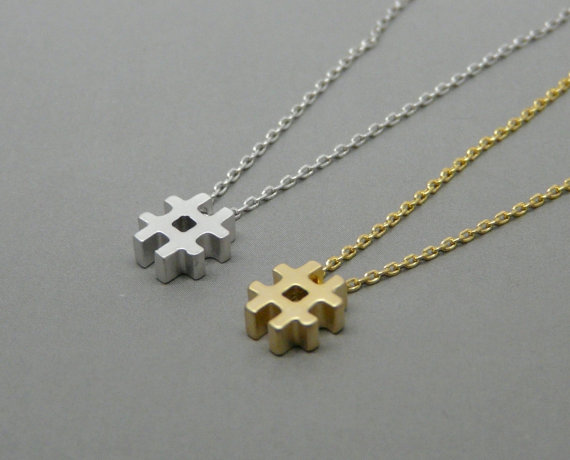 Hashtag Necklace gift for social media addict