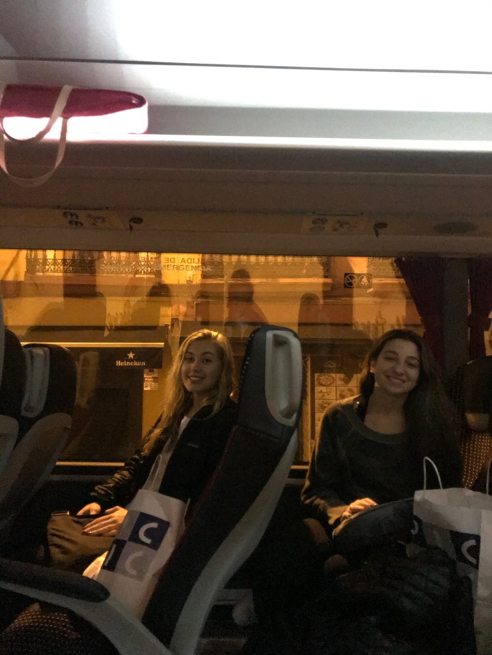 3:00 am   Caroline & Madelyn on the bus