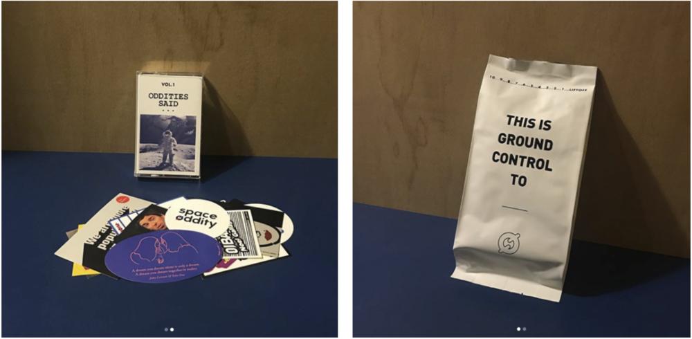 '리프트오프' 컨퍼런스 관객들을 위해 제작했던 굿즈들. 뮤지션 명언&망언으로 만들어진 스티커(좌) & 우주식량(우)