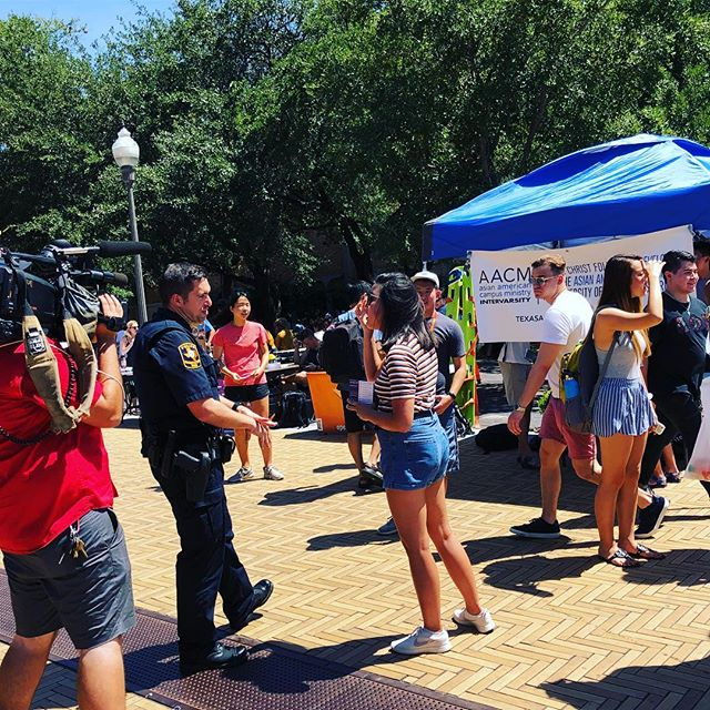 tabling = being interviewed by the UT police department. #welcometoaacm
