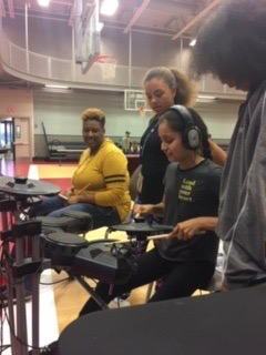 Drum Instruction at Lights On Girls Inc, October 2018