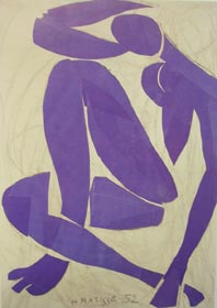 Example three Henri Matisse 1869-1954 Blue Nude IV 1952 Glue, clip 103 × 74cm Nice-Cimiez (Musee Matisse)