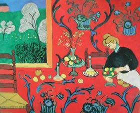 例圖一  馬蒂斯(Henri Matisse,1869-1954) 紅色和諧 1908 油畫畫布 180×220cm 聖彼得堡艾米塔吉博物館