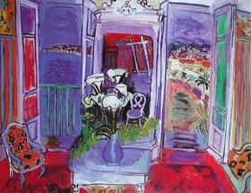 例圖三  杜菲(Raoul Dufy,1877~1953,法國) 有窗戶的室內 1928年 私人收藏