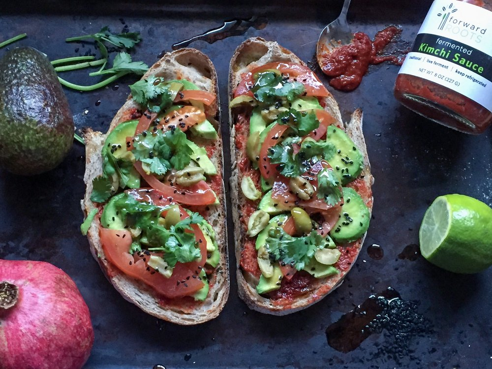 One of our healthy and yummy open sandwich Avocado with Kimchi, features our favourite kimchi sauce form our friends  Forward Roots
