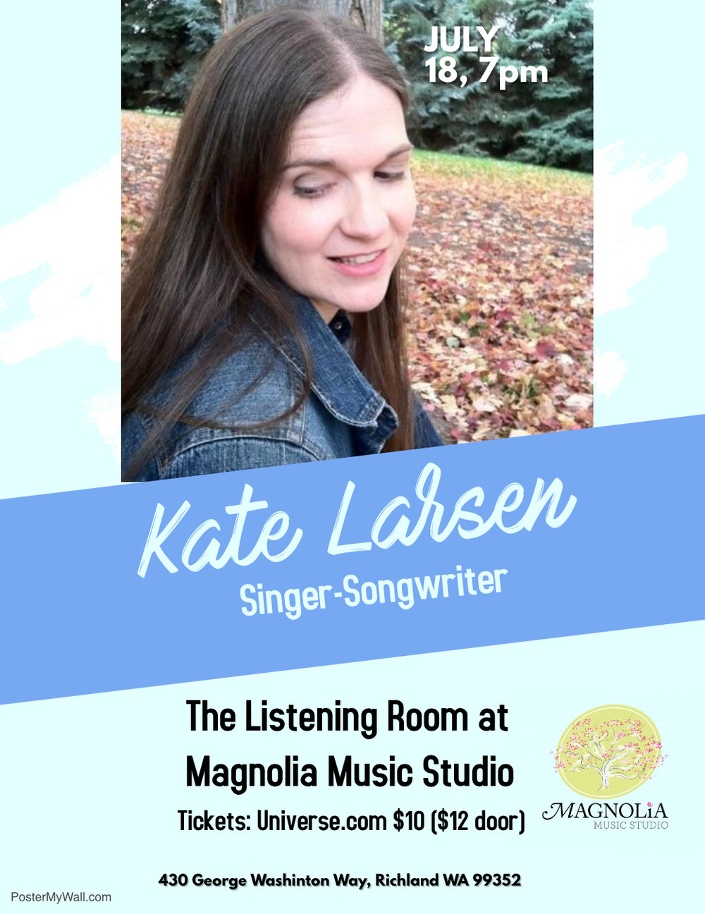 Singer-Songwriter Kate Larsen in concert, Wednesday July 18, 7pm.  Tickets
