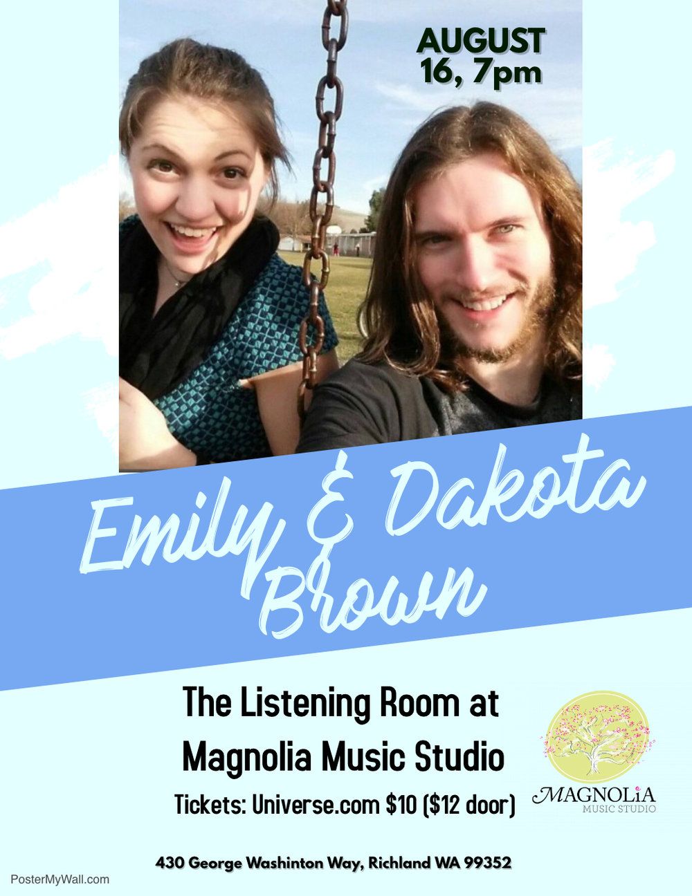 Emily Brown (vocals) and Dakota Brown (vocals and guitar), Thursday August 16, 7pm.  Tickets