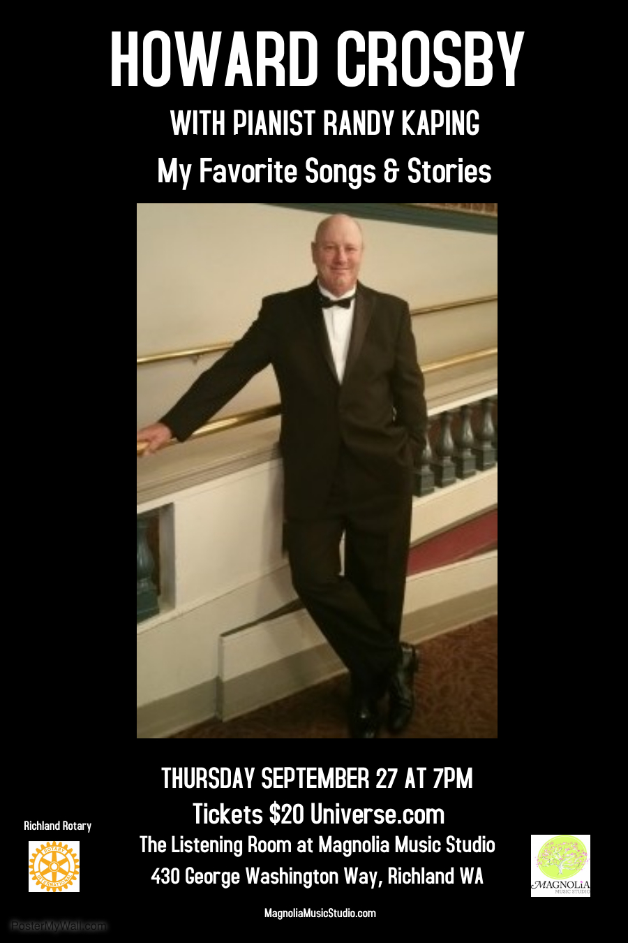 Howard Crosby with pianist Randy Kaping Sept 27, 7pm Tickets:  Universe.com/HowardCrosbyAtMagnolia