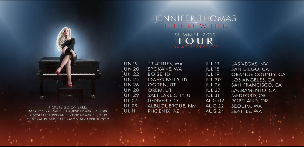 Jennifer Thomas is beginning her Summer 2019 USA Western States tour right here in Tri-Cities WA, Wednesday June 19, 7pm. Doors open at 6:30pm. All ages.   Versatile and award-winning pianist, violinist, composer, and Yamaha artist Jennifer Thomas will perform her epic music in intimate venues on the piano, as well as some violin throughout the concert - backed by the high definition power of her orchestral tracks (recorded at Abbey Road Studios). Tickets:  Eventbrite
