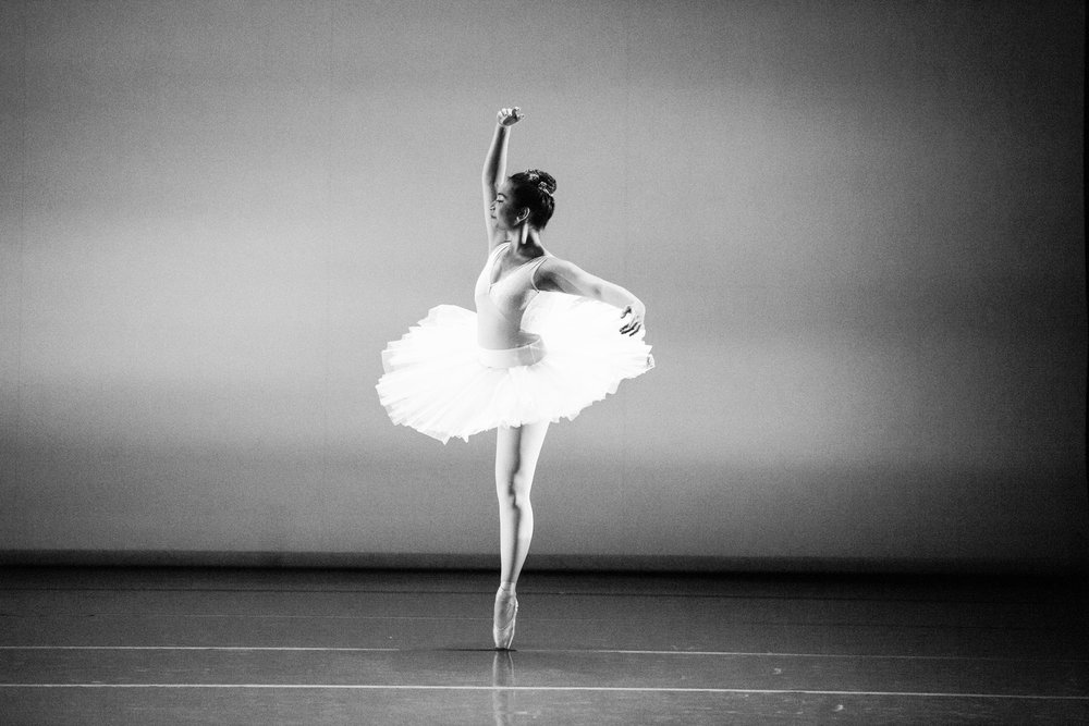 Ballet dancer in black and white