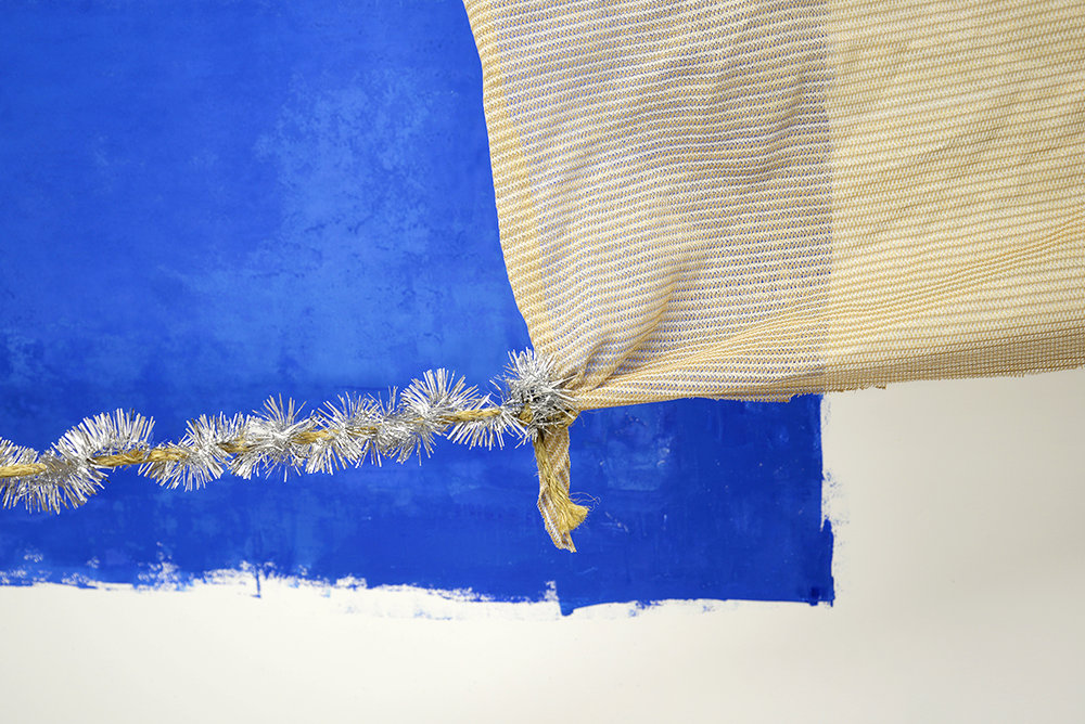 Chloe Waters  Wet Season (Broome)  (detail) 2017 Block ink, shade cloth, rope, tinsel, dimensions variable
