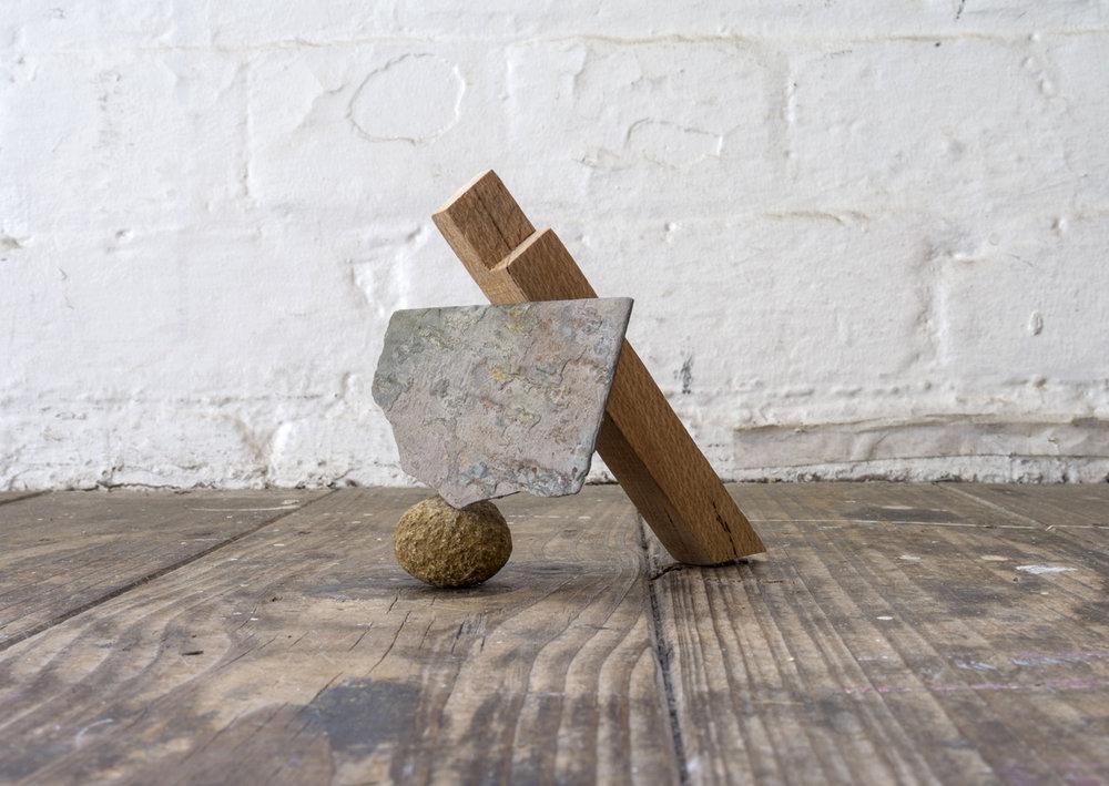 Zoe Knight, Untitled #5 - slate, Silky Oak, rock , 2016, wood, slate, rock, 5cm x 10cm x 5cm. Photo courtesy Carl Warner.