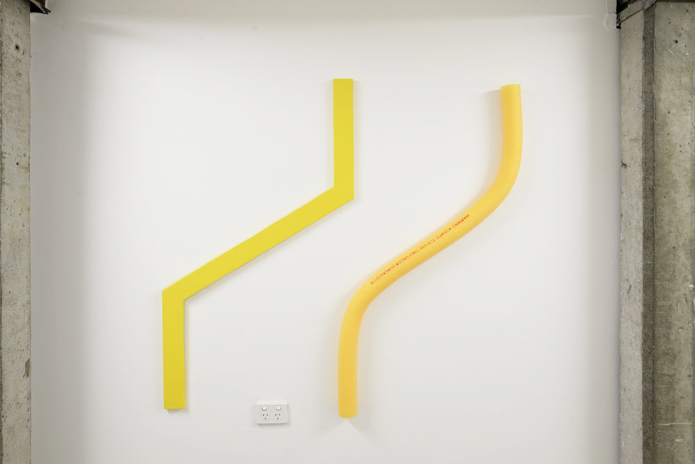 Left: Liam Marsden  Purposely Not Titled  2018 plywood and Dulux Softsun interior paint 120cm x 70cm Right: Jordan Azcune  Untitled (Liamlesser)  2018 pool noodle 160cm x 7cm