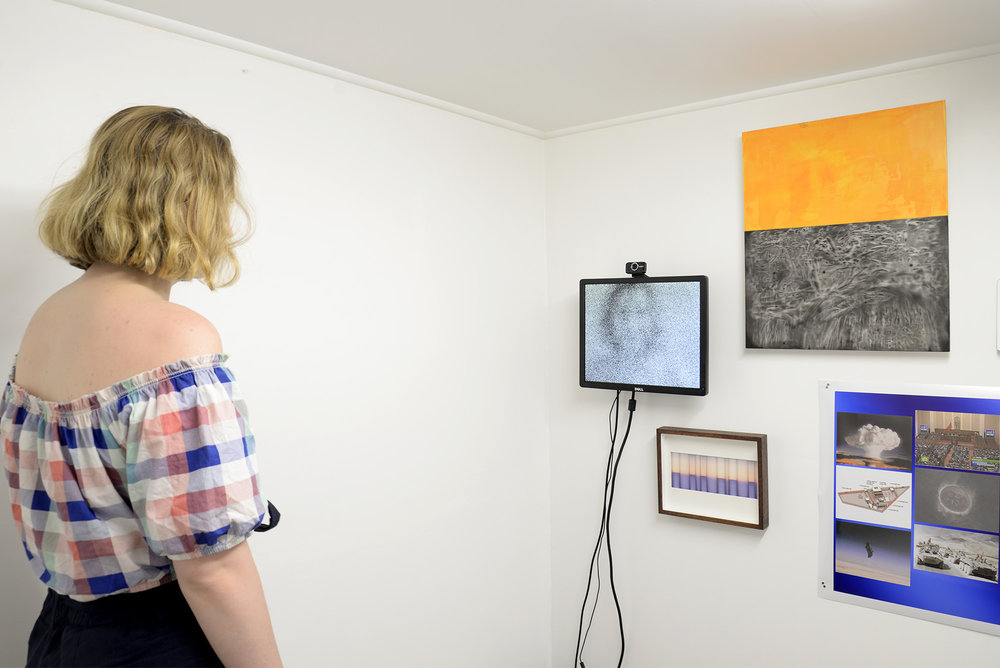 Chris Bowes  Watching  2018 random dithering algorithm, monitor, computer, cables, webcam dimensions variable