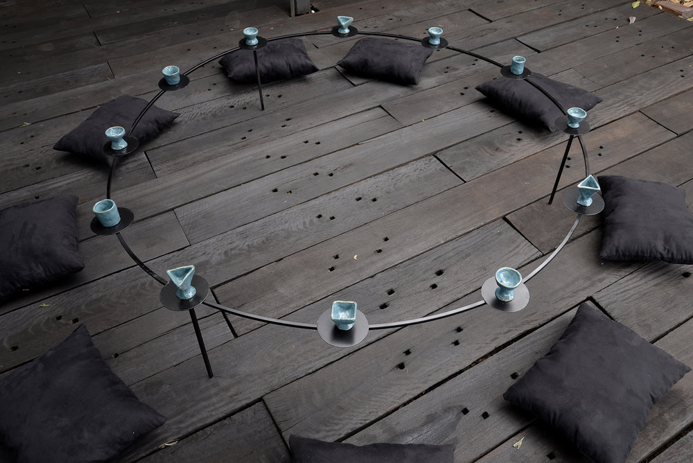 The constellation I see in the sky  2018 steel, cloth, ceramic cups, kitchen tools