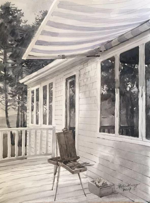 卓晓光,《午间休息》,纸上水彩,27.8×38cm,2017年