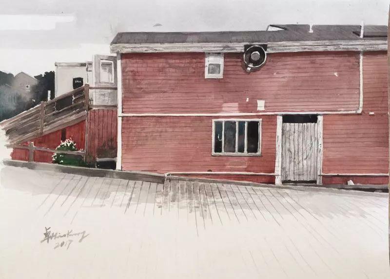 卓晓光,《码头上的红房子》,纸上水彩,27.8×38cm,2017年