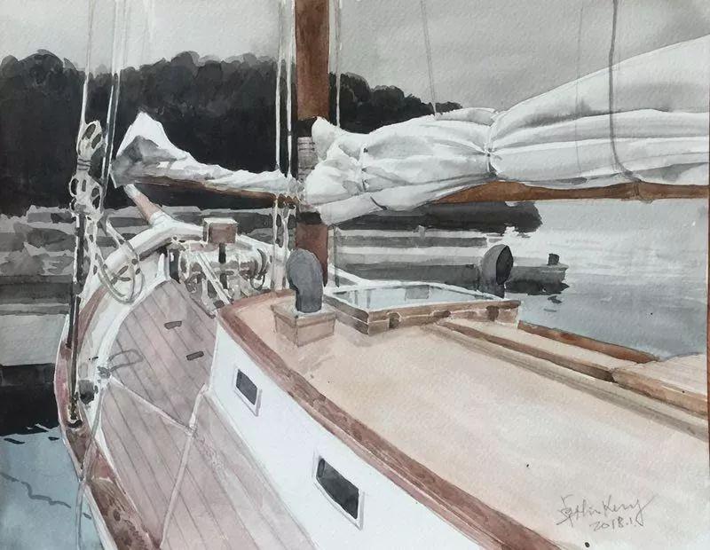 卓晓光,《收起的帆》,纸上水彩,27.8×38cm,2017年