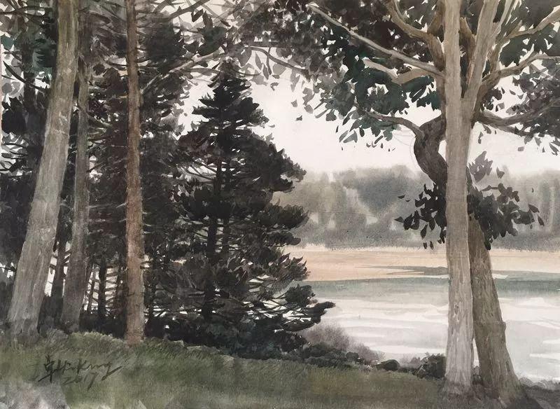 卓晓光,《后院和海湾》,纸上水彩,27.8×38cm,2017年