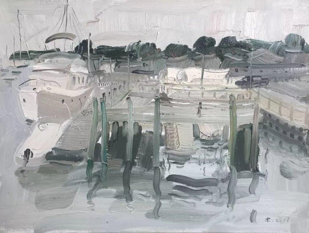 李睦,《幻影》,布面油画,60×80cm,2017年