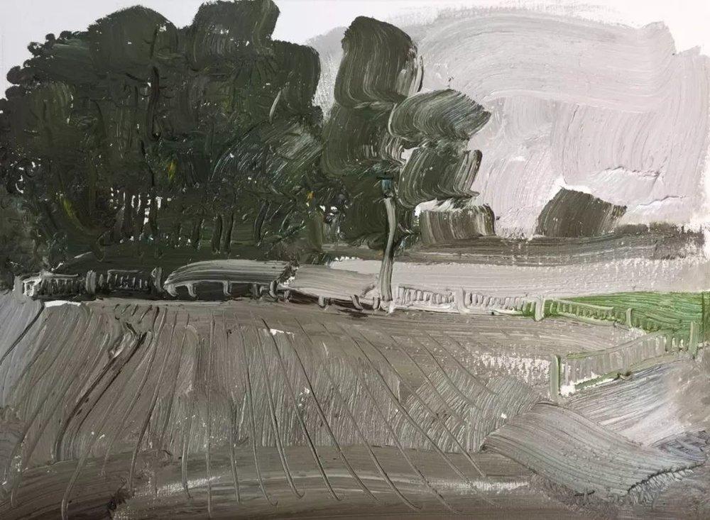 李睦,《率真》,油画,40×55cm,2017年