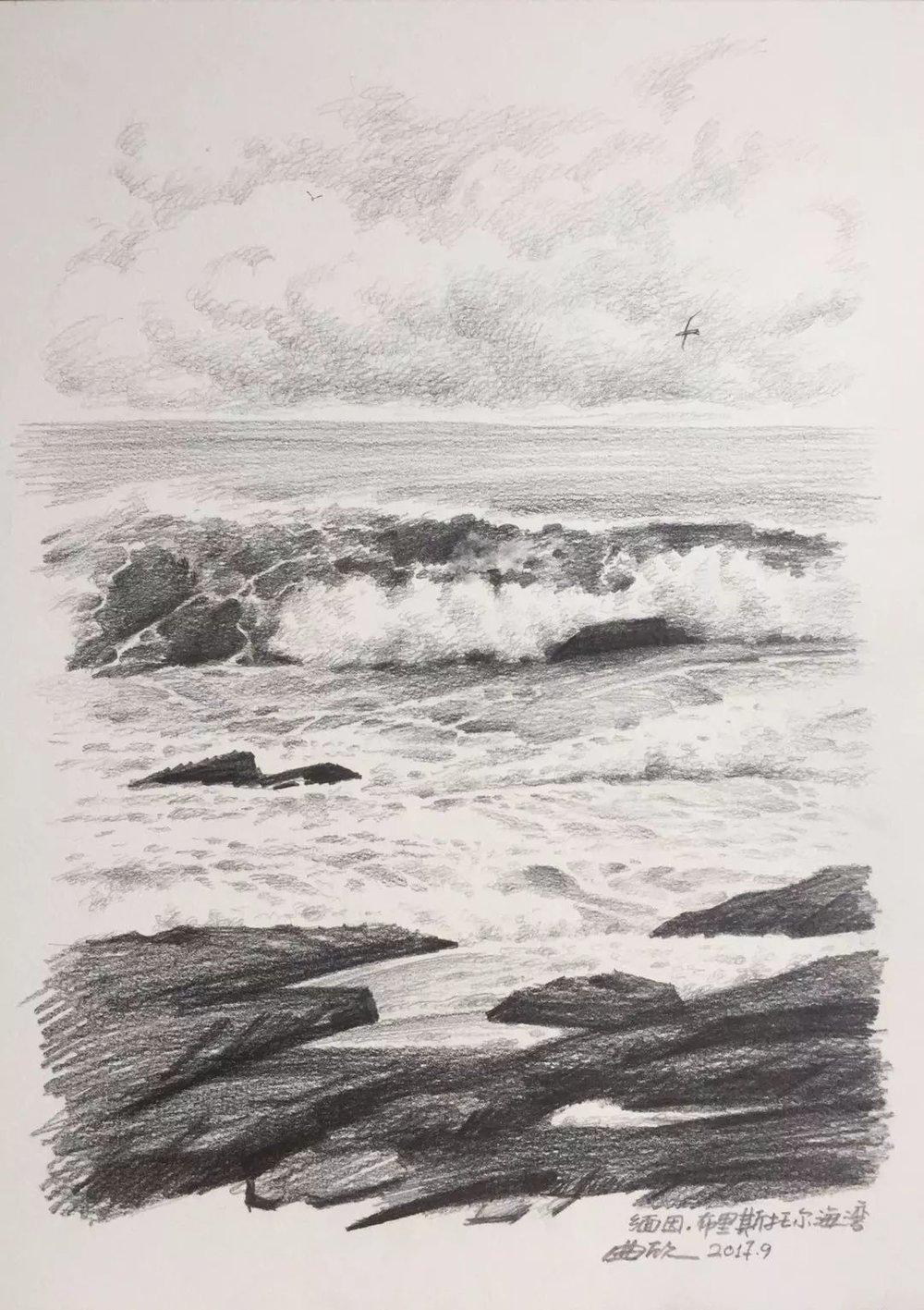 曲欣,《礁石与海浪》,纸面铅笔,28×38cm,2017年9月