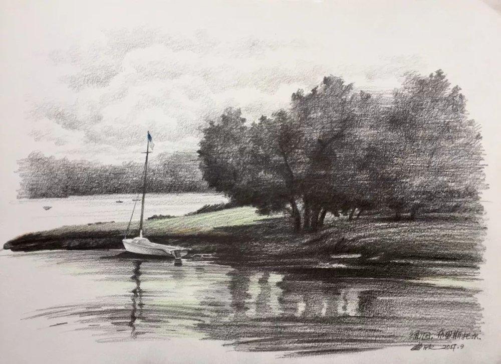 曲欣,《缅因布里斯托尔海湾》,纸面铅笔,38×28cm,2017年9月