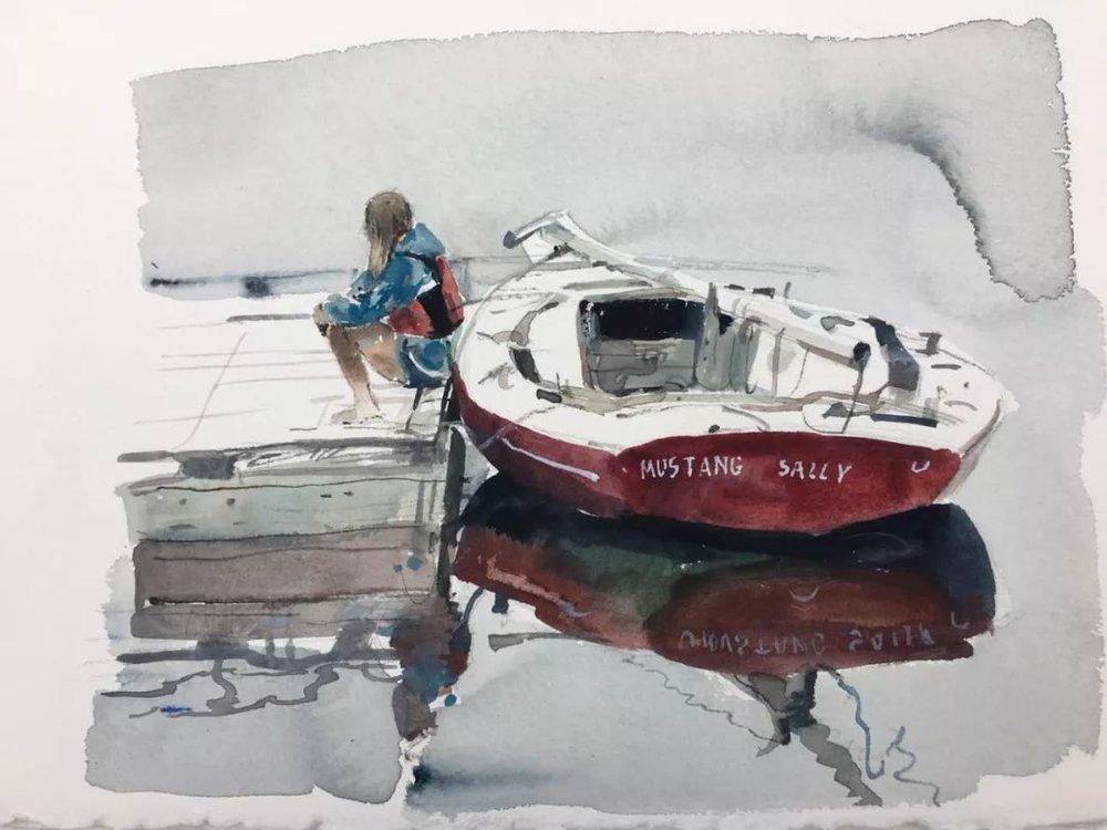 蒋智南,《布里斯托尔写生系列作品4》,水彩,38×28cm,2017年