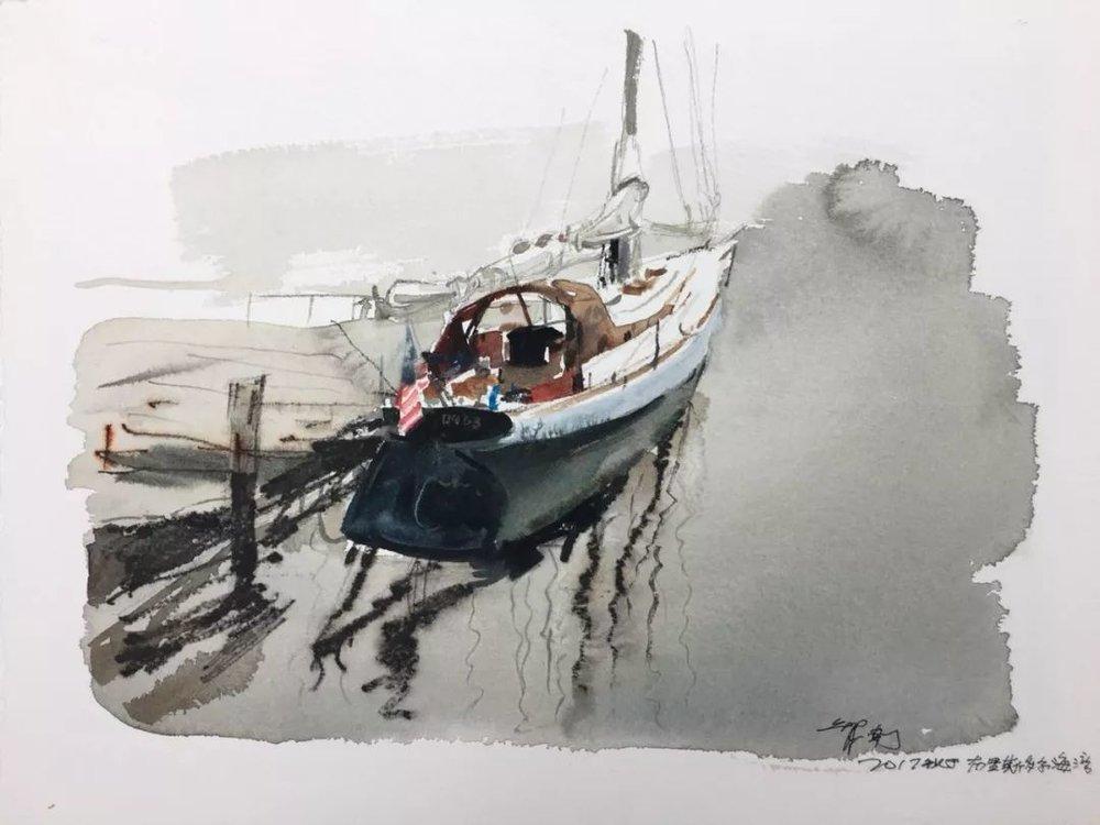 蒋智南,《布里斯托尔写生系列作品8》,水彩,38×28cm,2017年