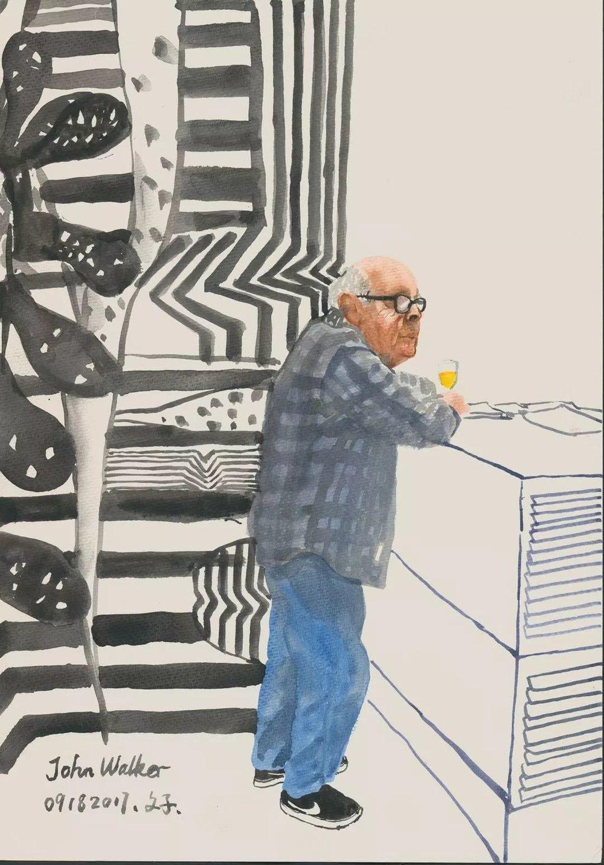 文中言,《John Walker》,纸上水彩,27×39cm,2017年