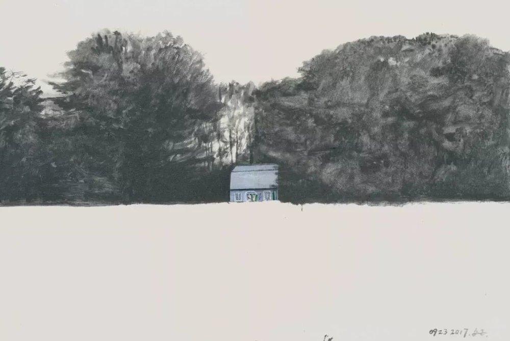 文中言,《缅因州小景》,纸上水彩,40.5×61cm,2017年