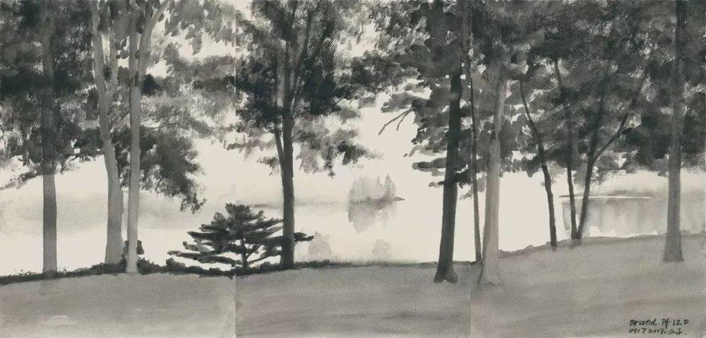 文中言,《布里斯托尔》,纸上水彩,81×39cm,2017年
