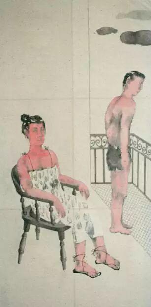 刘庆和,两个人,国画,90x170厘米,1991年,照片由王友身提供