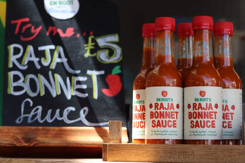 A South London creation of international inspiration.An outrageous blend of fresh red Scotch Bonnet peppers, Kesar mango and fragrant Gujarati spices.Give it a try and experience the sauce everyone's talking about...Would you RAJA BONNET!? Pure Goodness. Vegan. Fire.We are stocked at the following stores. Natural Law, SW11. Stir Coffee, SW2. Brixton Wholefoods, SW9. Hop Burns & Black, SE22. Apples & Bees, SW11. Guzzl, SW9. Real Ale Ltd, TW1 & W9Got somewhere in mind where we should be stocked? Get in touch and we will make it happenAs featured in the Telegraph amongst the Top 12 Hot Sauces in the UK: - http://www.telegraph.co.uk/food-and-drink/features/cult-condiments-12-best-hot-sauces-tried-tested-heat-flavour/