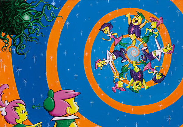 23. Jetstonextravaganza, 2009 ⓒ Kenny Scharf 2018, Image courtesy the artist and Honor Fraser Gallery, Photo Joshua WhiteJWPictures.com(Acrylic on linen, 91.4 x 132.3cm).jpg