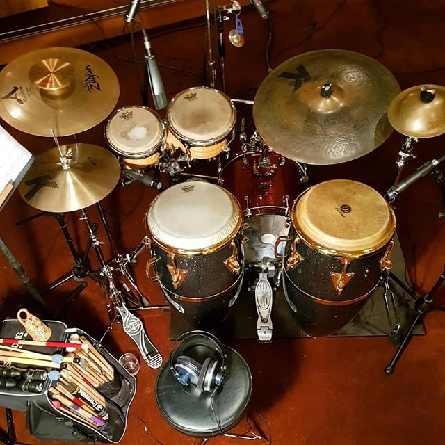 Steve Todd's elegant and nifty percussion setup for @thekathierenner and her new record. #zildjian #lppercussion #basmatirice