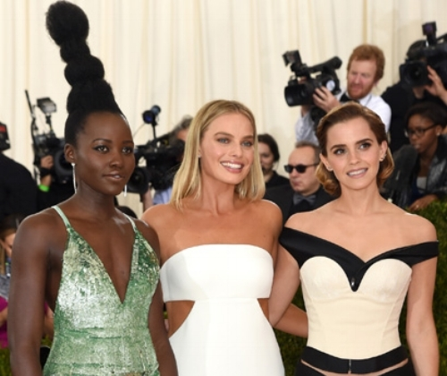 "Photo: Eco-Age: ""Creating three stunning looks for the Met Gala 2016, using the GCC Principles for Sustainable Excellence. Lupita Nyong'o, Emma Watson, and Margot Robbie wore Calvin Klein Collection for the Green Carpet Challenge."""
