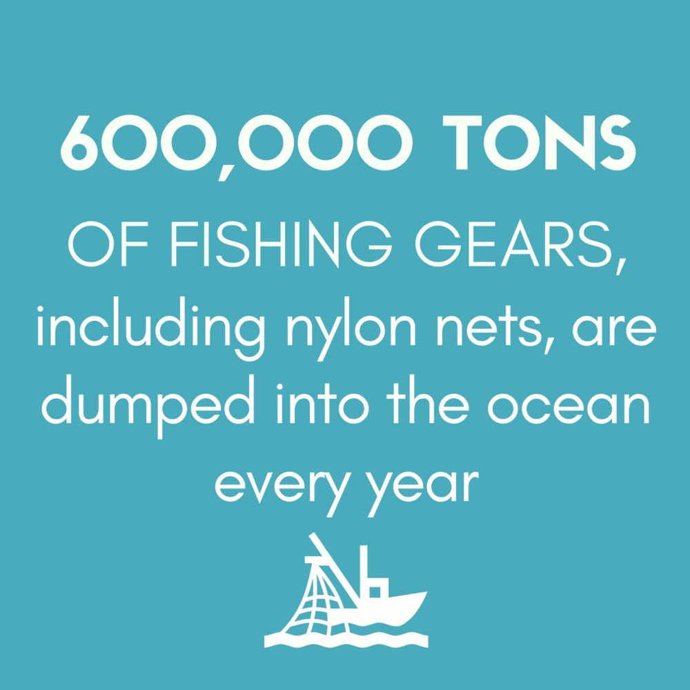 600,000 TONS OF FISHING GEARS, including nylon nets, are dumped into the ocean every year