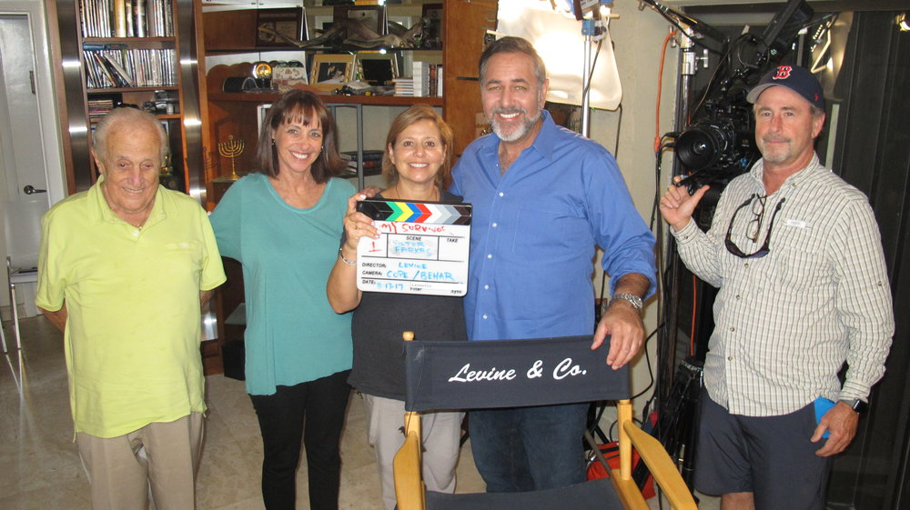 Survivor Victor Farkas, Senior Executive Producer Mindy Hersh, Coordinating Producer Geri Levine, Director Jerry Levine and Director of Photography Andy Cope - just before initiating field production in Bay Harbor Islands, Florida.