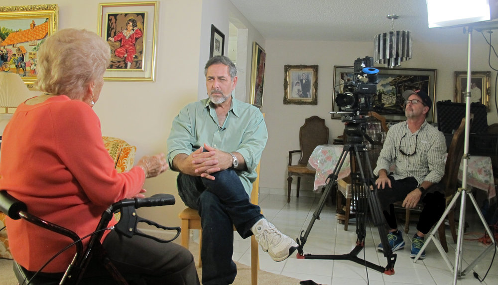 Edith Akerman (age 97) being interviewed in her Aventura residence.