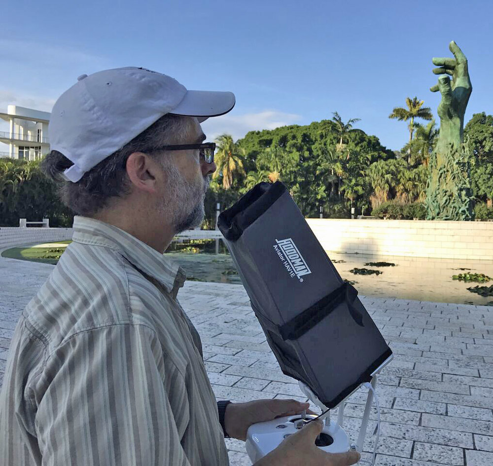 Mark preparing to shoot aerials at the Greater Miami Jewish Federation Holocaust Memorial of Miami Beach.