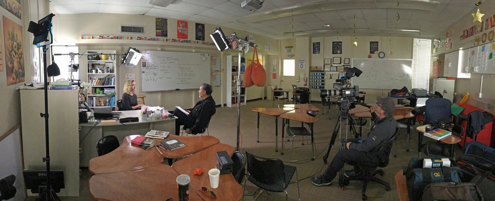 Panoramic view of Hannah's Advanced Placement English classroom during the documentary interview.