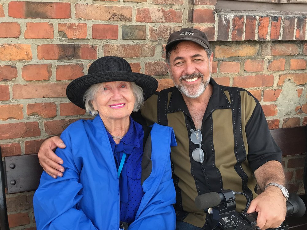 Magda and Jerry, outside Aushwitz-Birkenau, at the completion of filming in Poland.